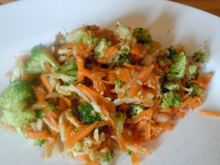 Parsnip, carrot, broccoli slaw