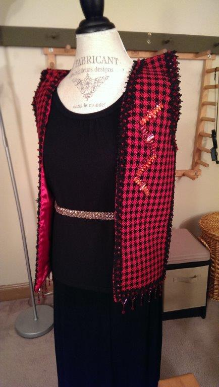 Red Houndstooth Vest Front