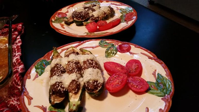 Lamb Stuffed Zucchini with Canteloupe Mint Sauce