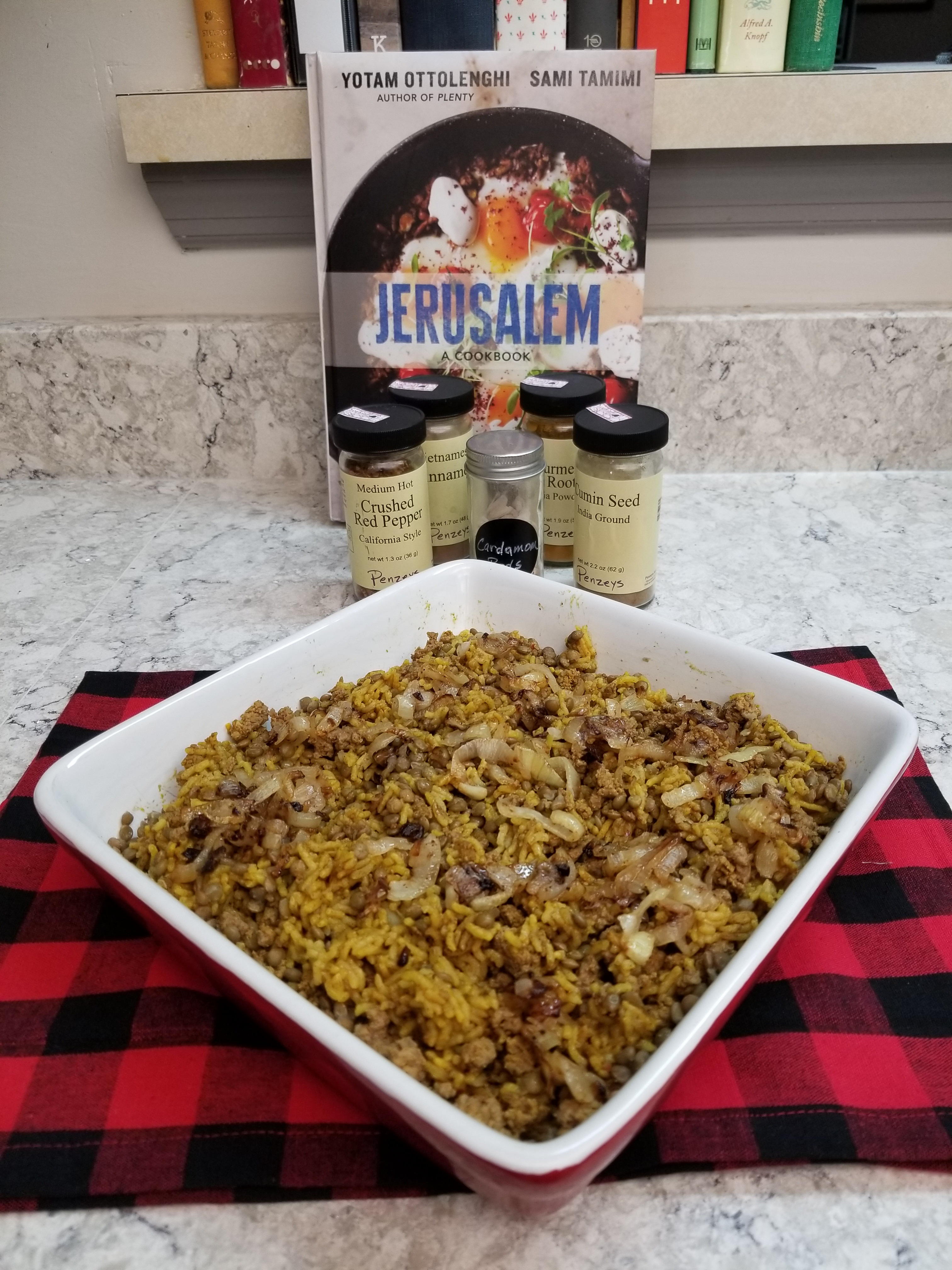 Lentil, Beef and Rice Mejadra
