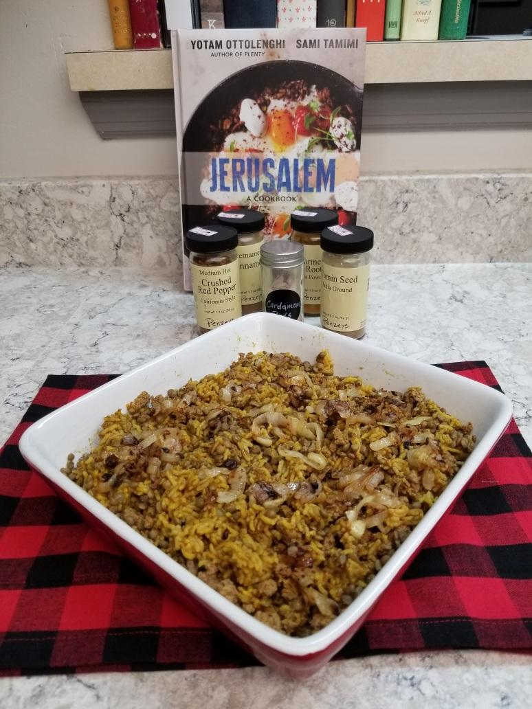 Lentil, Beef and Rice Mejadra