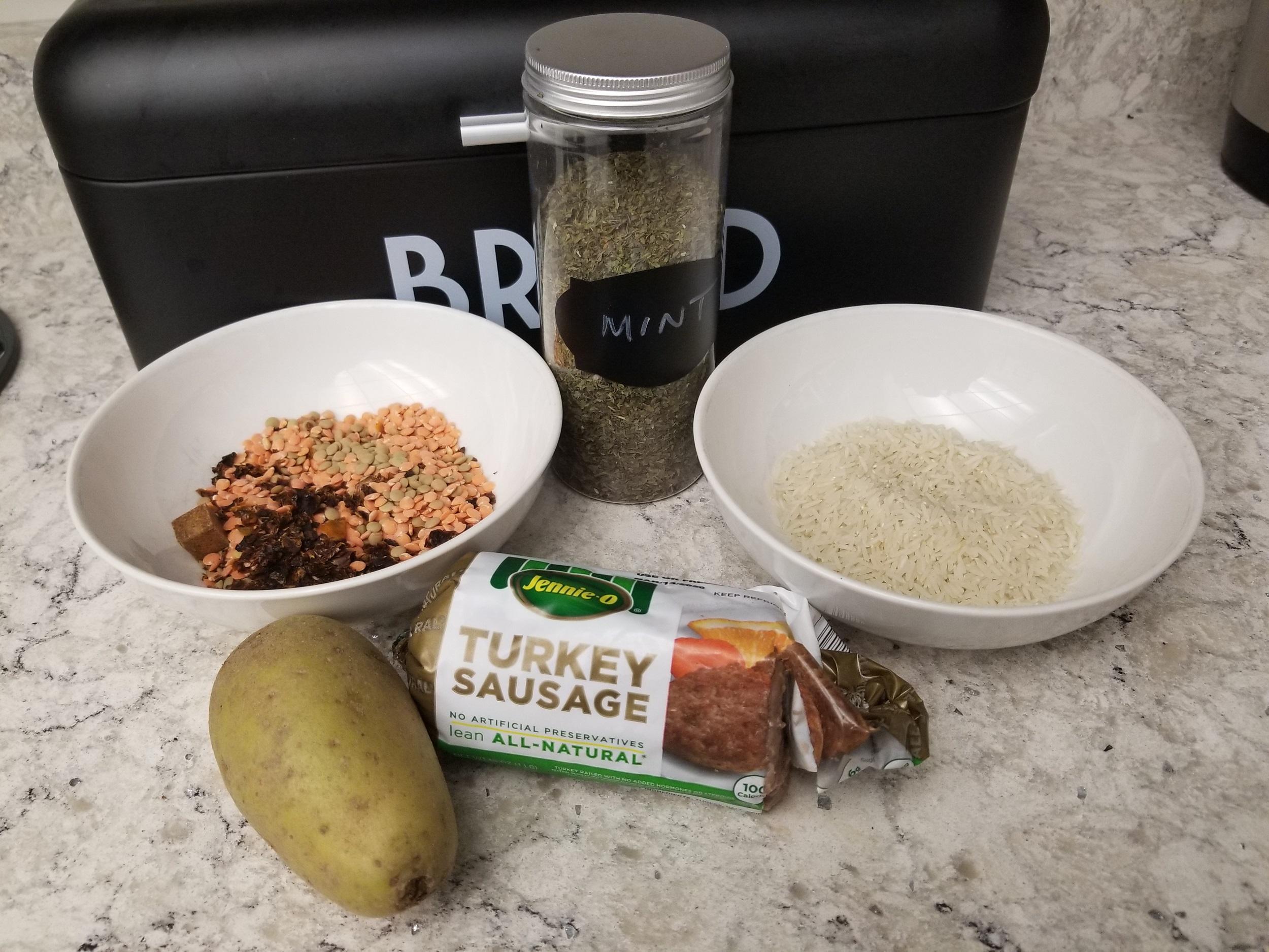 lentil rice sausage curry